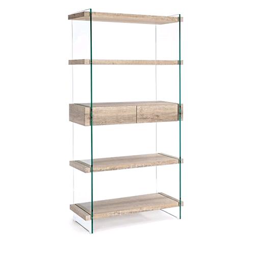 Librería madera y cristal 2 cajones 90x39x180 cm