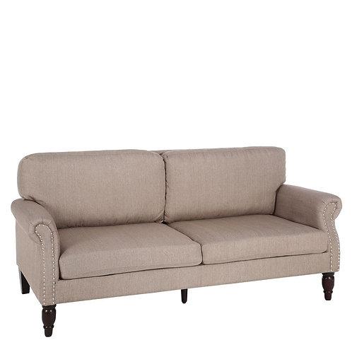 Sofá con tachuelas y patas de madera 3 plazas tostado 1,89 m x 85,5 cm x 85 cm