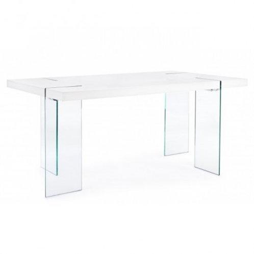 Mesa de comedor cristal y tapa blanco o madera varios tamaños