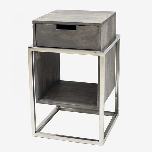 Mesilla de noche madera decapada gris/plata o negro 38,5x38,5x61cm