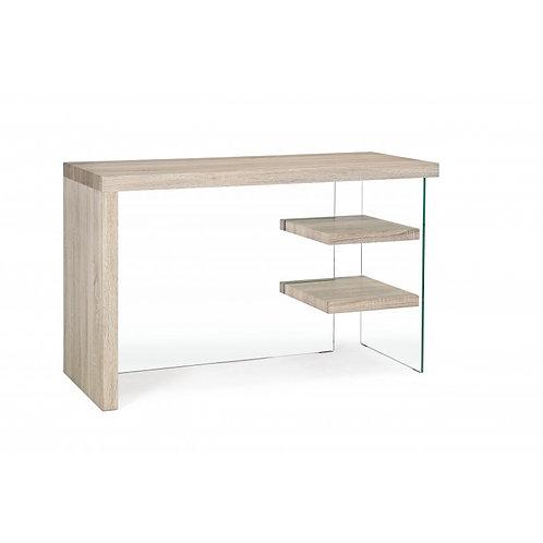 Mesa de despacho madera y cristal 2 baldas 120x50x76 cm