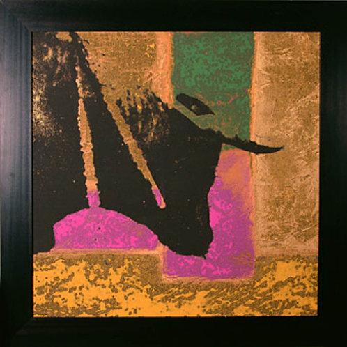 Serie 2 cuadros Toros abstracto tela 120x120