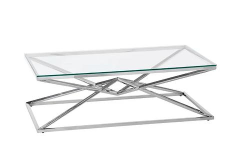 Mesa de centro cristal/plata 120 x 60 x 40 cm