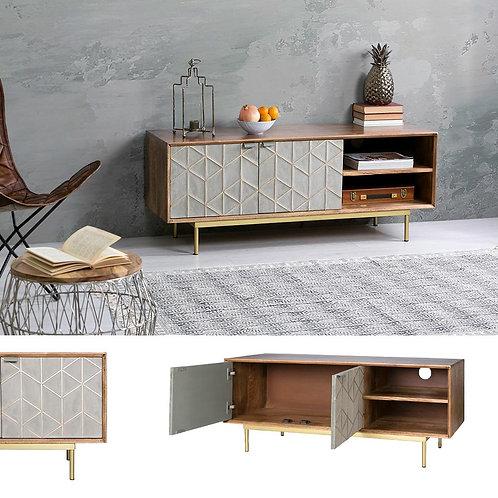 Mueble TV mango gris/oro 130 x 41 x 51 cm