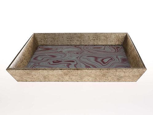 Bandeja cuadrada oro envejecido minerales 48 x 48 cm