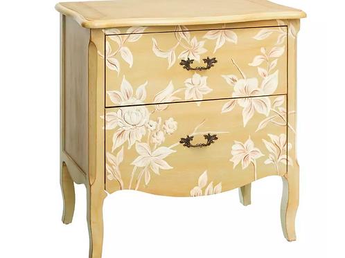Mesilla de noche/cómoda flores beige 75 x 40,50 x 78 cm