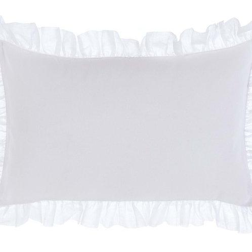 Funda cojín con volantes blanco 50 x 30 cm