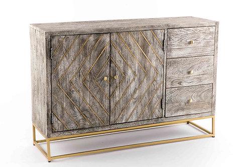 Aparador de madera con incrustaciones doradas 120*35*80cm