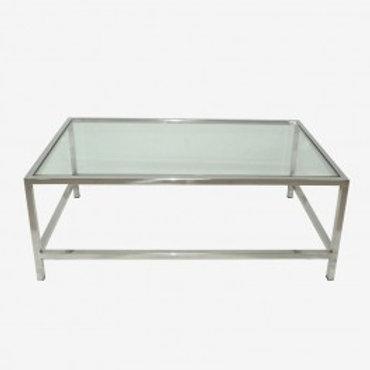 Mesa de centro plata/cristal 120x70x45 cm