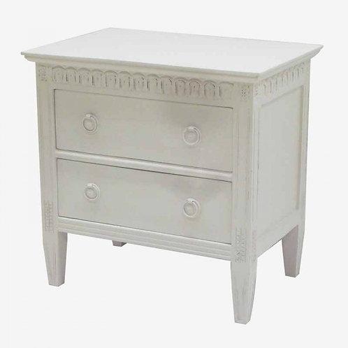 Mesilla de noche madera con friso tapa blanca o gris 57x39.5x57 cm