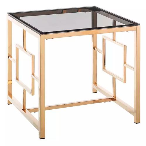 Mesa auxiliar oro/cristal 55 x 55 x 55 cm