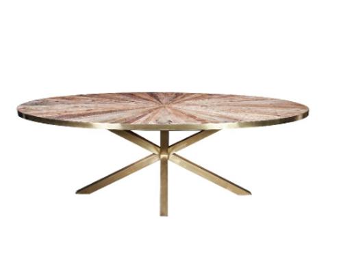 Mesa de comedor ovalada madera/dorado 220x110x77 cm