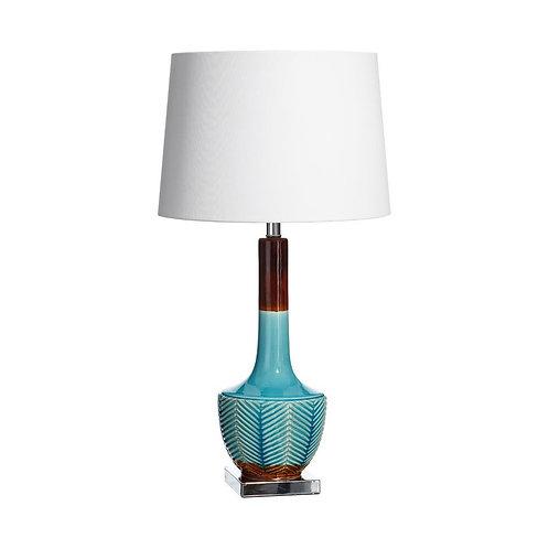 Lámpara de cerámica turquesa con base plata y madera 76 cm alto