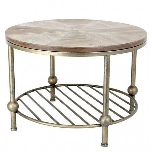Mesa auxiliar metal envejecido/madera 2 tamaños
