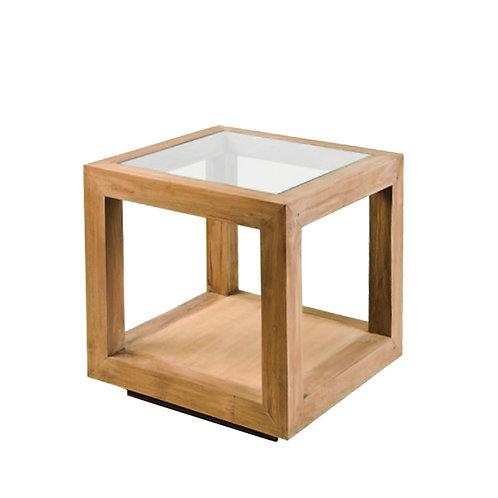 Mesa auxiliar madera y cristal 60 x 60 x 60,5 cm
