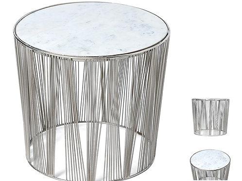 Mesa auxiliar plata u oro y mármol blanco 47 x 43 x 47 cm