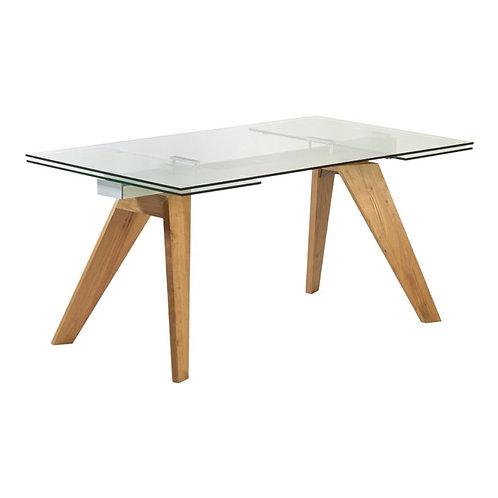 Mesa de comedor extensible fresno o laca blanco 160-240 x 90 x 75 cm