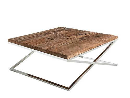 Mesa de centro madera envejecida/acero 2 tamaños