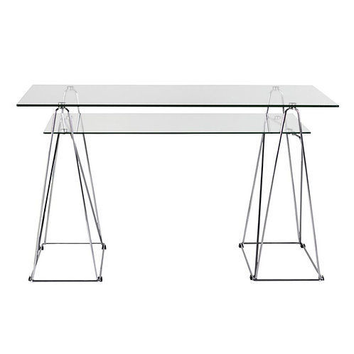 Mesa despacho/escritorio cristal/hierro cromado