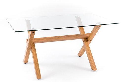 Mesa de comedor hierro/cristal 150x90x75 cm