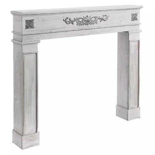 Frente de Chimenea en madera Blanca rozada 115 X 17 X 101,50 CM