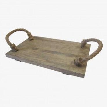 Bandeja madera natural, asas cuerda 38x24 cm