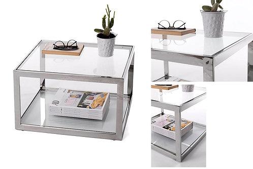 Mesa auxiliar acero/cristal 53 x 30 x 45 cm