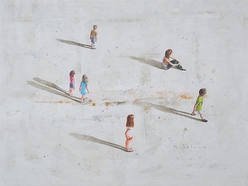 Cuadro Oleo gente en el parque I 100 x 150 cm.