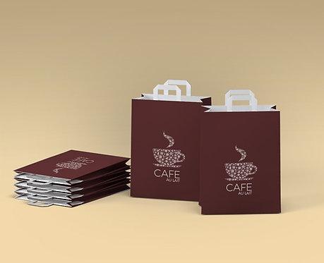 Bolsas de papel con asa plana 22+12x31.5,min. 300 uds/una caja