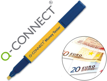 Rotulador money tester pen q-connect para detectar billetes falsos.
