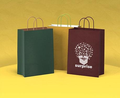 Bolsas de papel asa retorcida 24+11x32,min. 300 ud./una caja