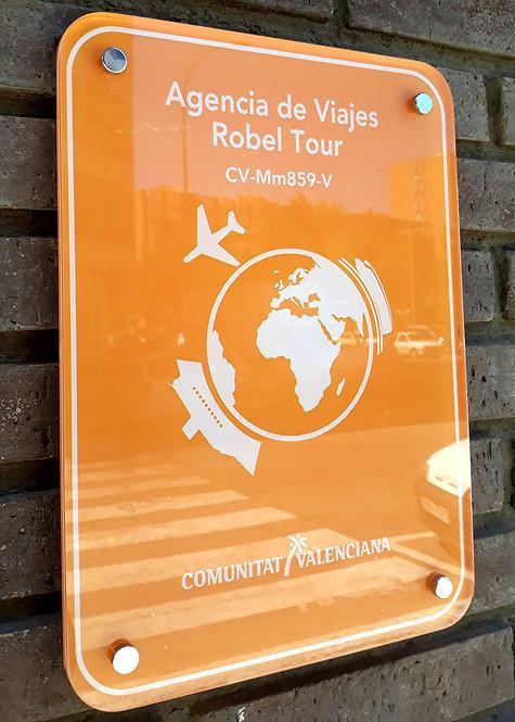 Cartel Metacrilato Agencia de Viaje