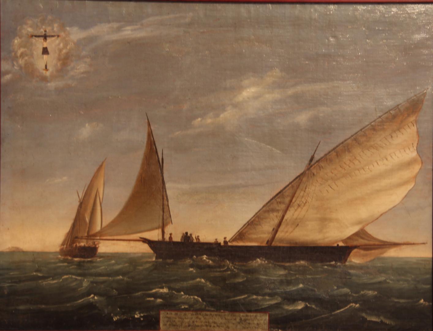 """Exvot de la tartana """"Carmen"""", dia 18 de setembre de 1855 (Col·lecció Jaume Ferrando Barceló. Fotografia Sebastià Vidal)."""
