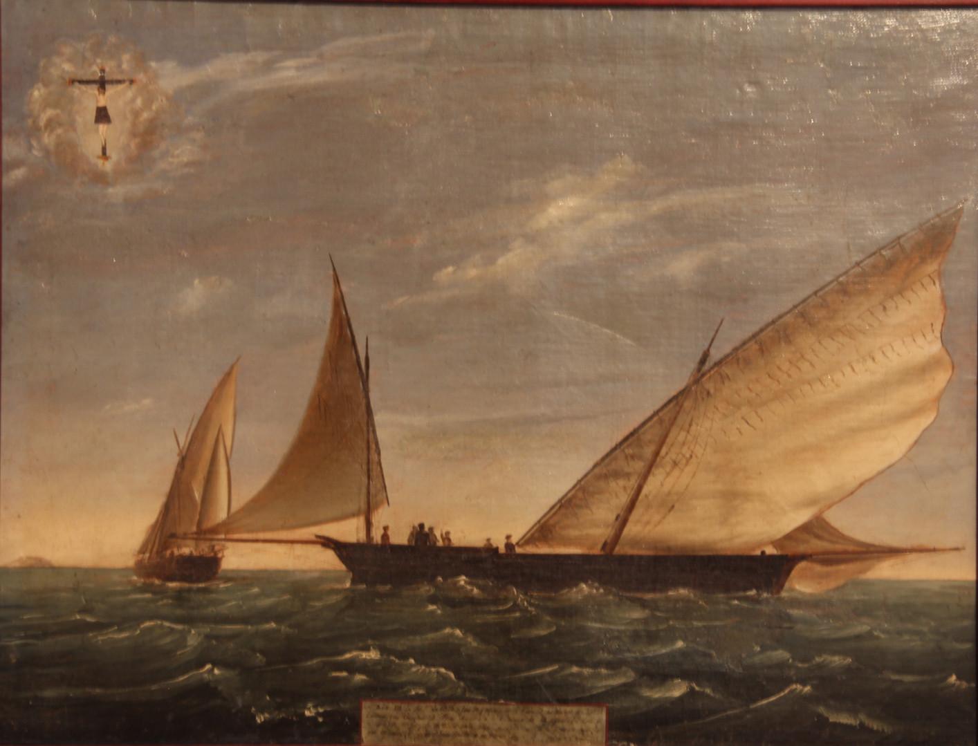 "Ex-voto of the tartane ""Carmen"", on 18 September 1855 (Jaume Ferrando Barceló Collection. Photo by Sebastià Vidal)."