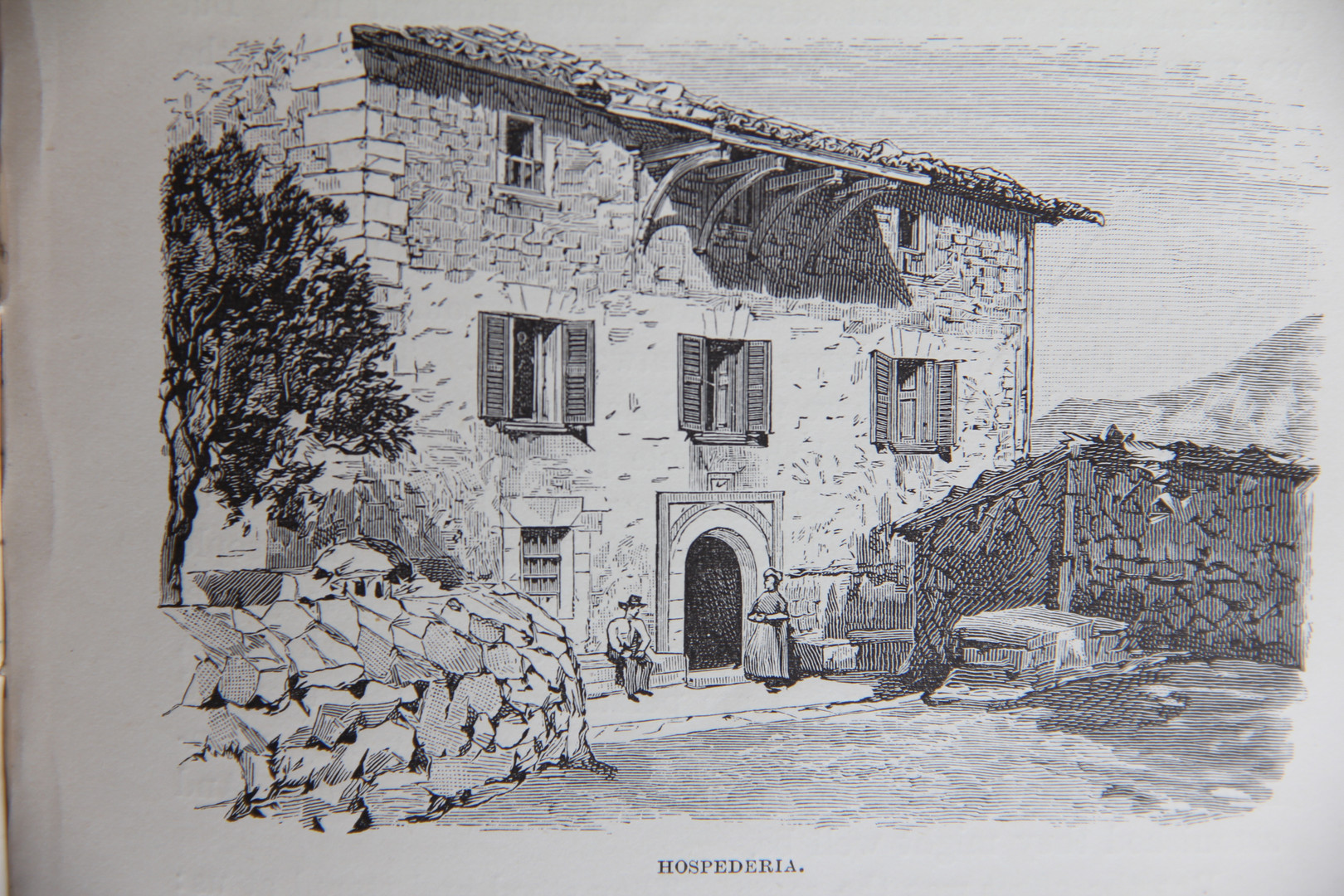 """Ca Madò Pilla's hostelry according to the illustration included in CW Wood's book """"Letters from Majorca"""" (1888)."""