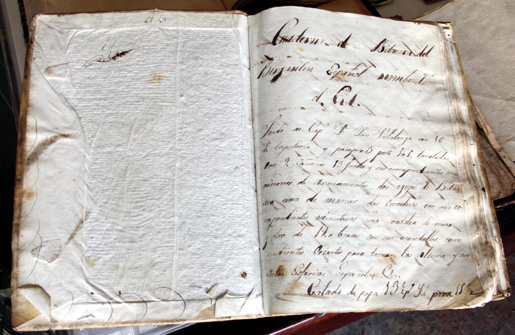 """Primera pàgina d'un quadern de bitàcola del segle XIX del bergantí """"El Cid"""" (Col·lecció Manuel Rives Blanco. Fotografia Sebastià Vidal)."""