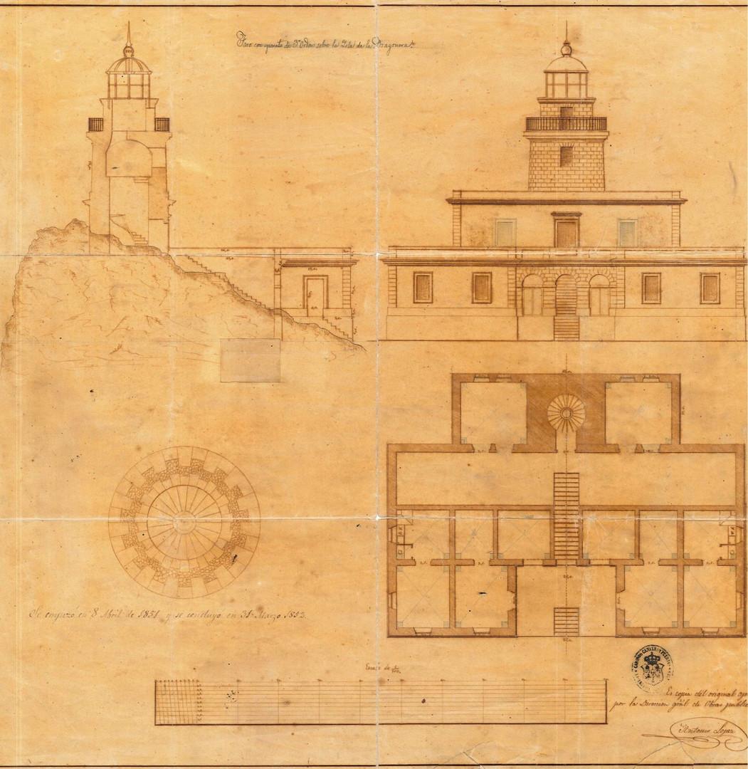 """Plànol de l'antic far de na Pòpia, del """"Proyecto del faro de 3º orden para la isla Dragonera"""" de Don Antonio López, de l'any 1850 (Arxiu Autoritat Portuària de Balears)."""
