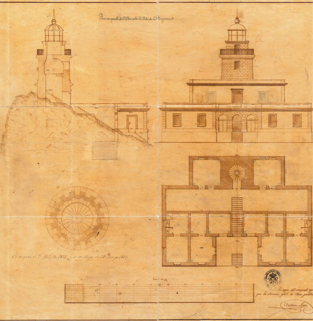 """Plan of the old Na Pòpia lighthouse, from the """"Proyecto del faro de 3º orden para la isla Dragonera"""" by Antonio López, 1850 (Archive of the Port Authority of the Balearic Islands)."""