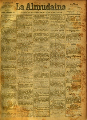 """Front page of the """"La Almudaina"""" newspaper from 26 July 1889."""