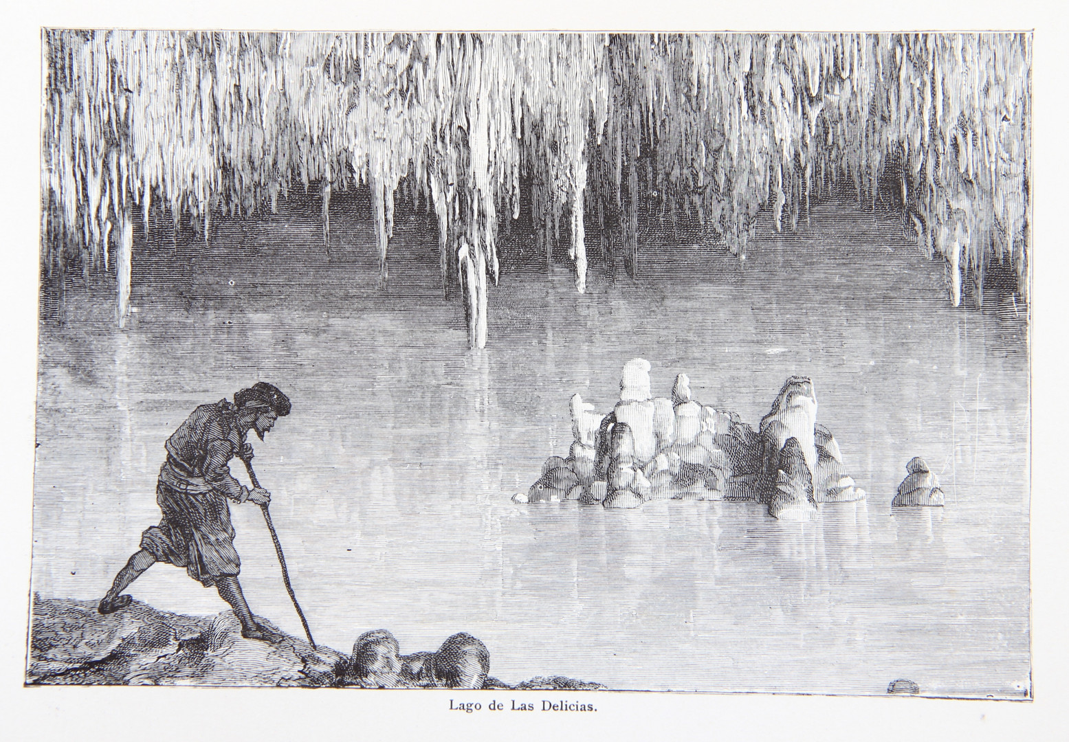 """Inside the Caves of Drac according to a print in Gaston Vuillier's """"The Forgotten Isles""""."""
