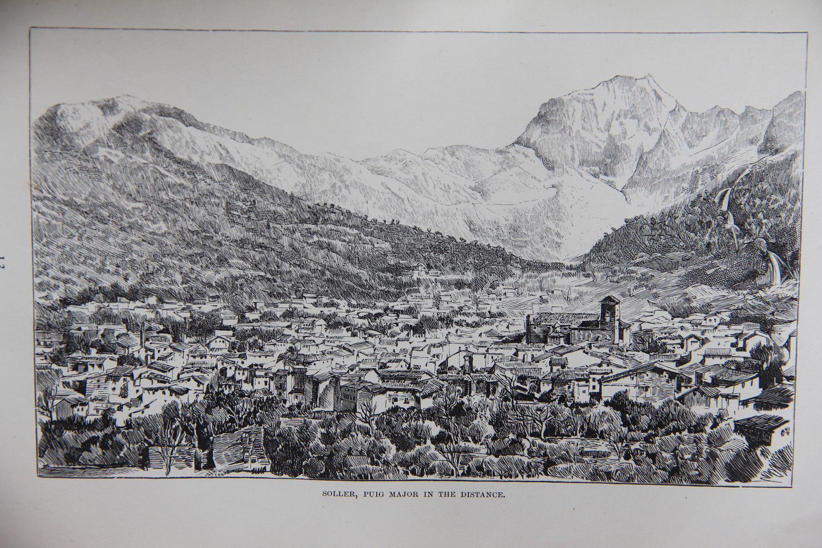 """Sóller with the silhouette of the Puig Major in the background. Print included in CW Wood's book """"Letters from Majorca"""" (1888)."""