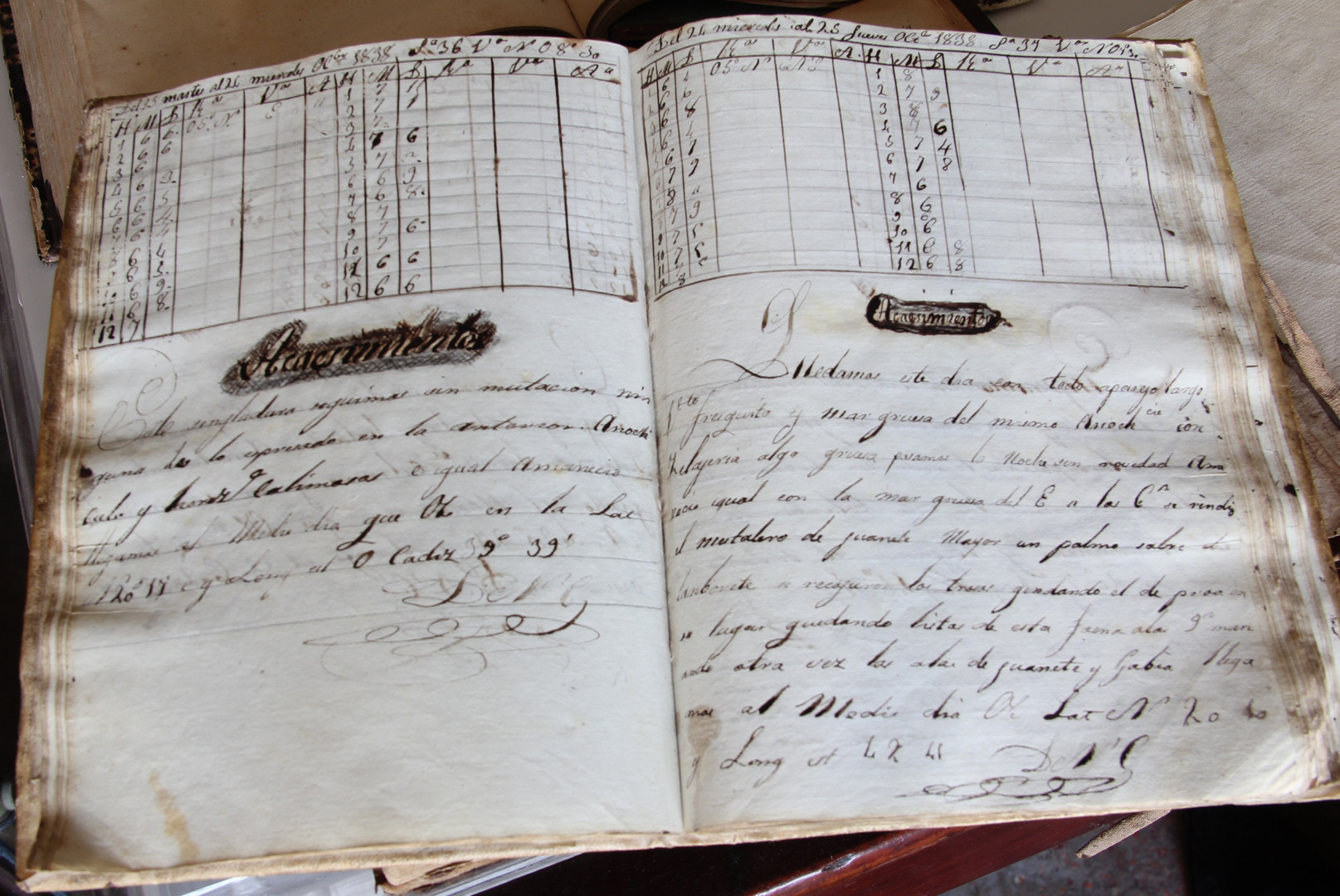 "Page of a 19th century logbook from the brig ""El Cid"" (Manuel Rives  Blanco Collection. Photo by Sebastià Vidal)."