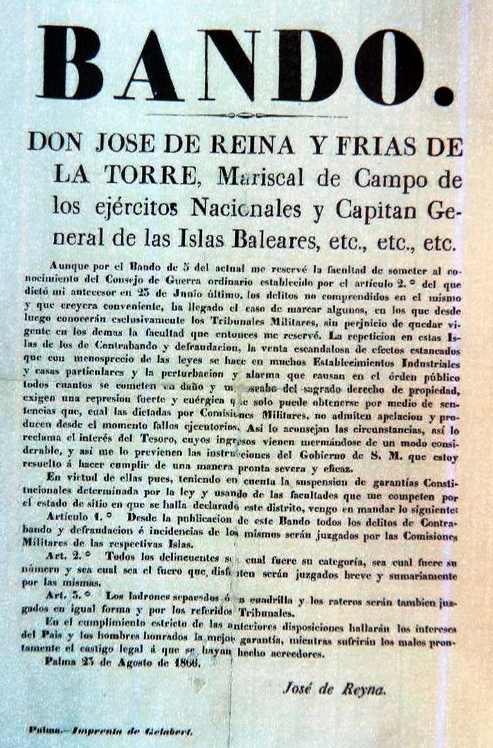 Ban de l'any 1886 amb relació als delictes de contraban, als delinqüents i als lladres.