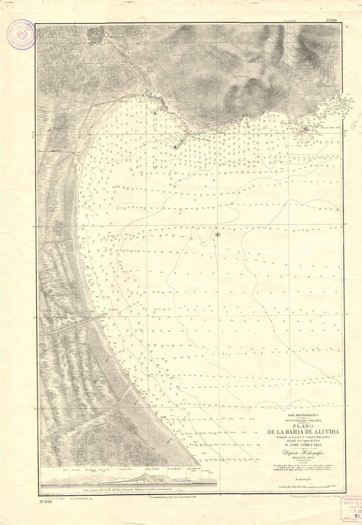 Carta nàutica de la comissió hidrogràfica de l'any 1893 de la badia d'Alcúdia. (Col·lecció Jaume Ferrando).