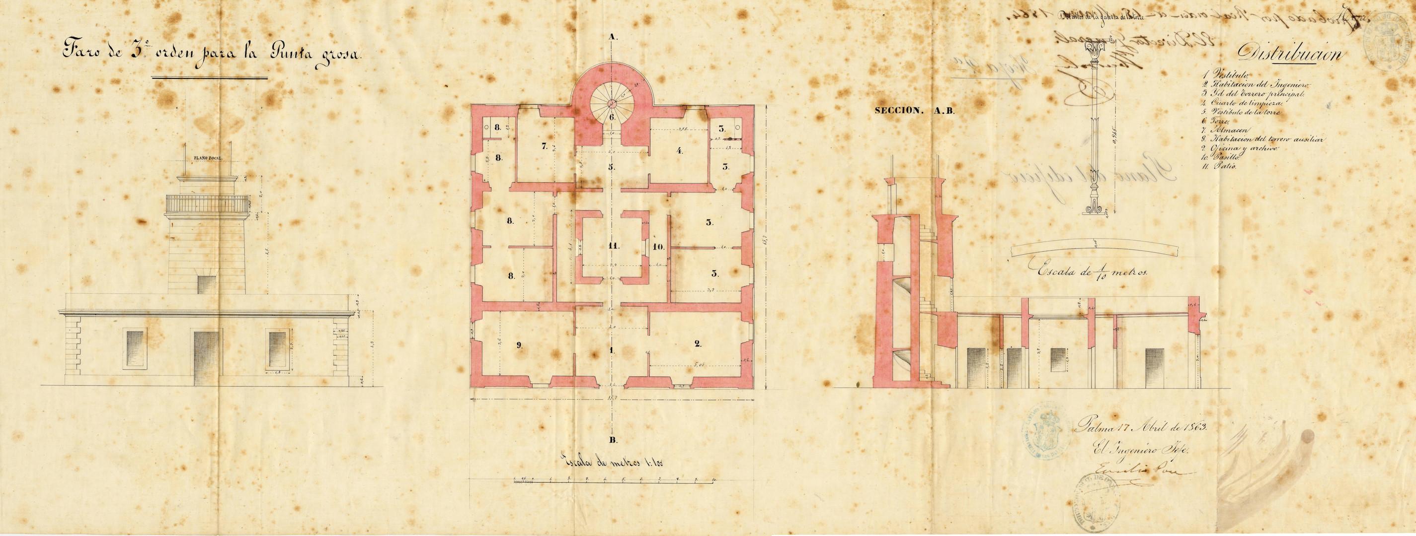 """Plànol del far de Punta Grossa, del """"Proyecto del faro de 3º orden para la Punta Grosa de Sóller"""" de Don Emilio Pou, de l'any 1863 (Arxiu Autoritat Portuària de Balears)."""
