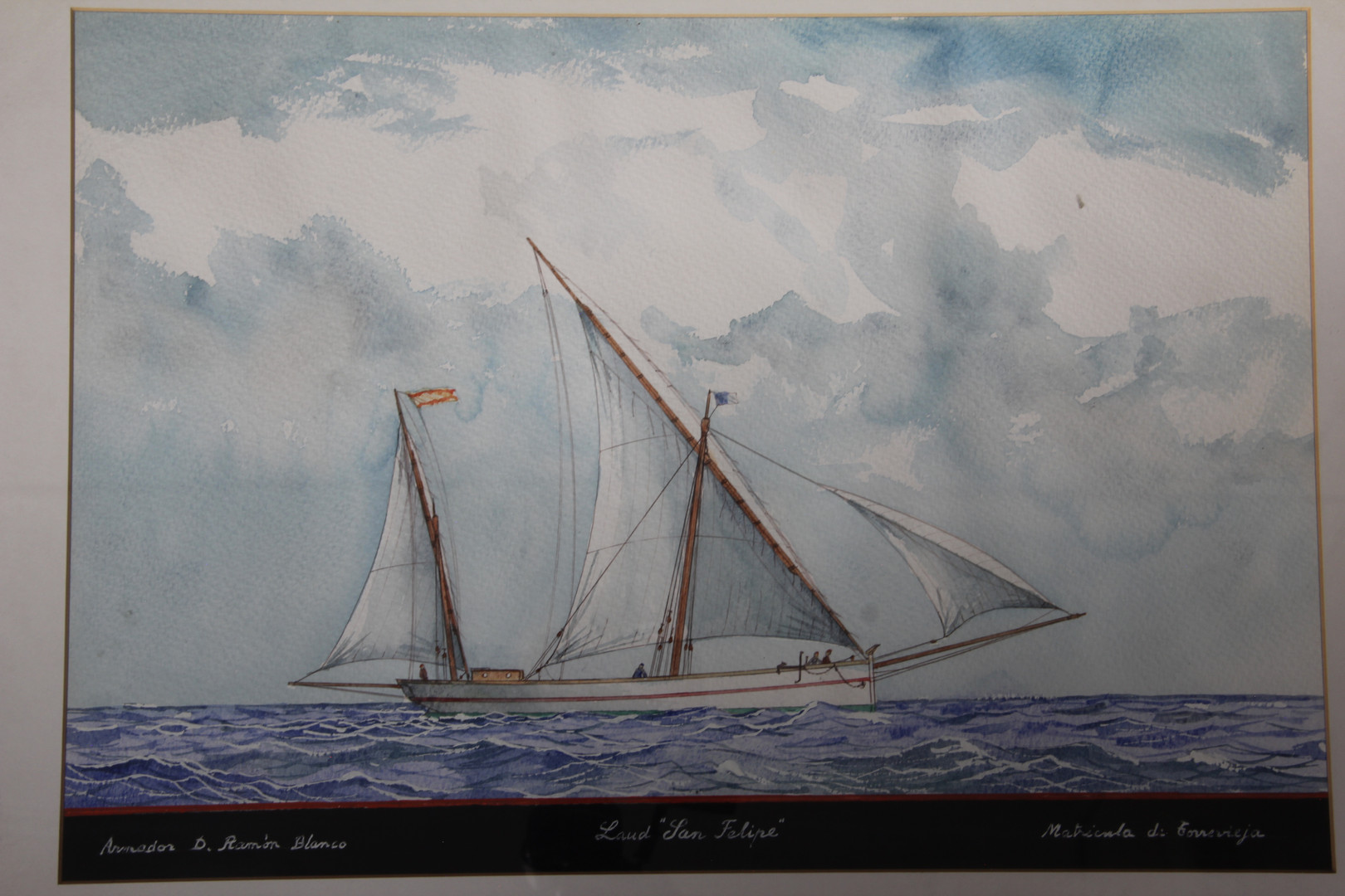 "Watercolour by Ramón Sampol of the llaüt ""San Felipe"" (Manuel Rives Blanco Collection. Photo by Sebastià Vidal)."