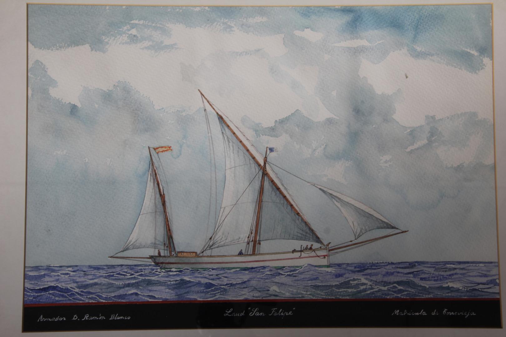 """Watercolour by Ramón Sampol of the llaüt """"San Felipe"""" (Manuel Rives Blanco Collection. Photo by Sebastià Vidal)."""