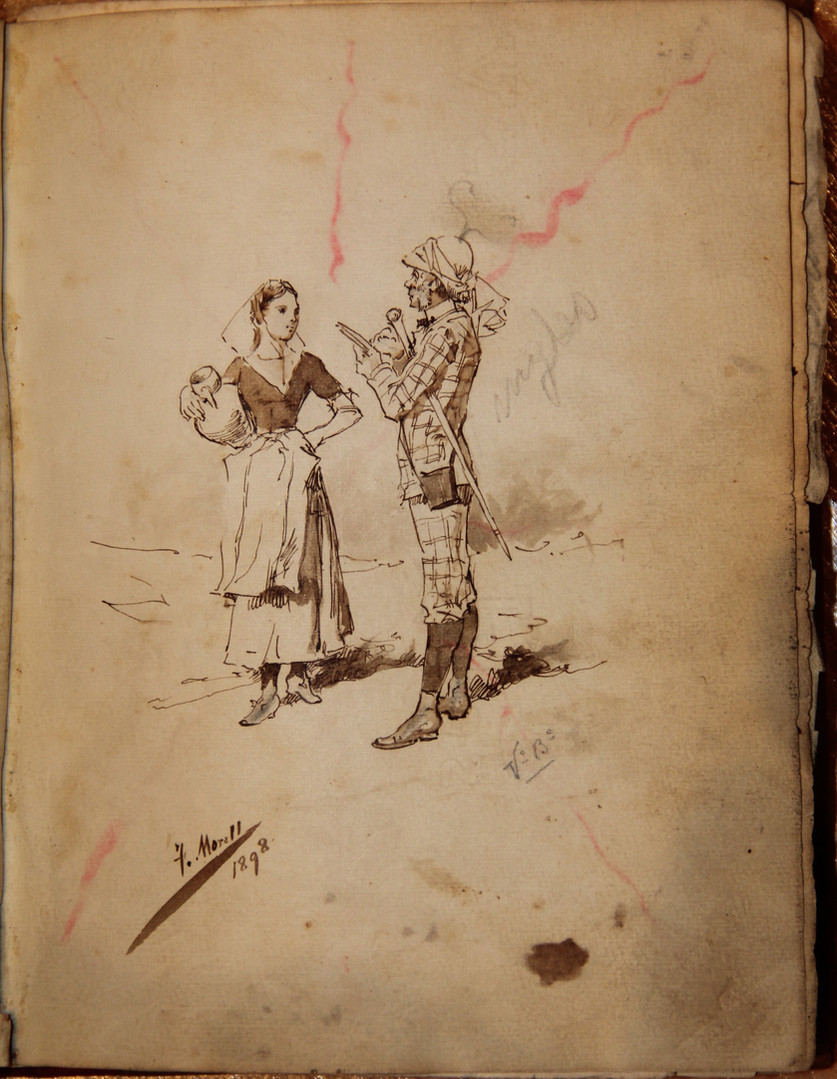 """Drawing by Fausto Morell, a tribute to the foreign tourist, on the opening page of the volume of the Caves of Artà visitors' book corresponding to the period when they were visited by the expeditioners on the """"San Miguel""""(courtesy of the Caves of Artà)."""