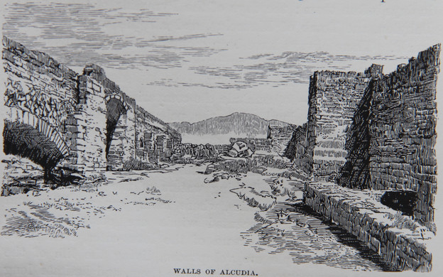 """Print of the walls of Alcúdia according to CW Wood. Included in his book """"Letters from Majorca"""" (1888)."""