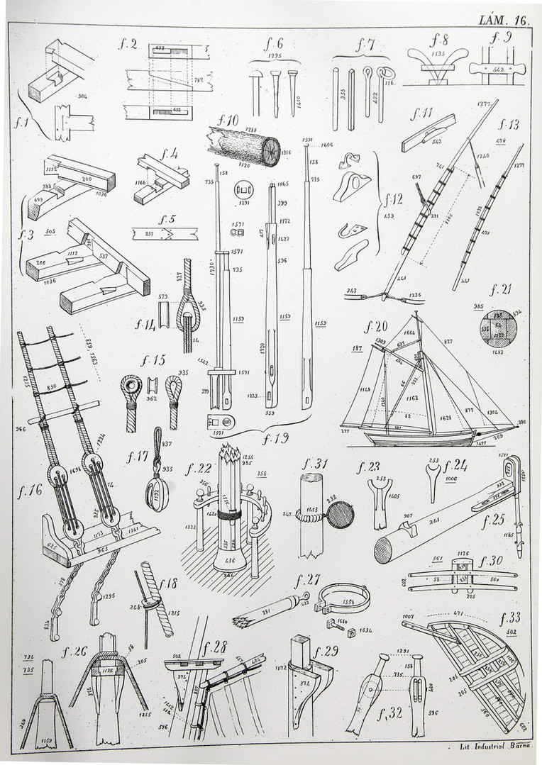 Illustration from the 1856 atlas of naval architecture by J. Monjo i Pons, showing diferent parts of the rigging of a sailing boat. Published by the Consell Insular de Mallorca, 1990. (Jaume Ferrando Barceló Collection. Photo by Sebastià Vidal).